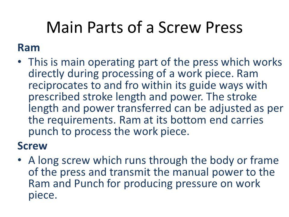 Main Parts of a Screw Press