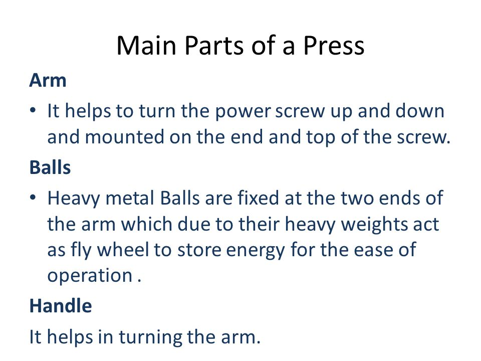 Main Parts of a Press Arm