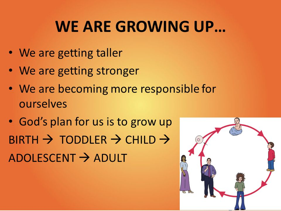 WE ARE GROWING UP… We are getting taller We are getting stronger