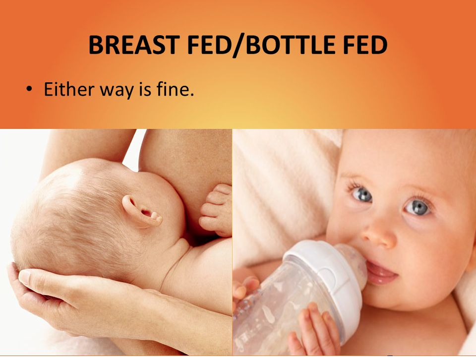 BREAST FED/BOTTLE FED Either way is fine.