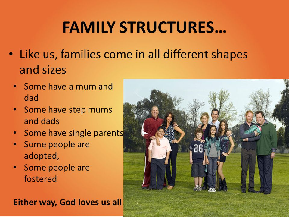 FAMILY STRUCTURES… Like us, families come in all different shapes and sizes. Some have a mum and dad.