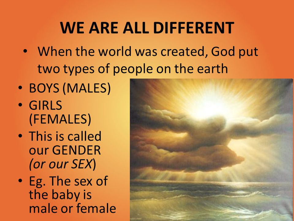 WE ARE ALL DIFFERENT When the world was created, God put two types of people on the earth. BOYS (MALES)