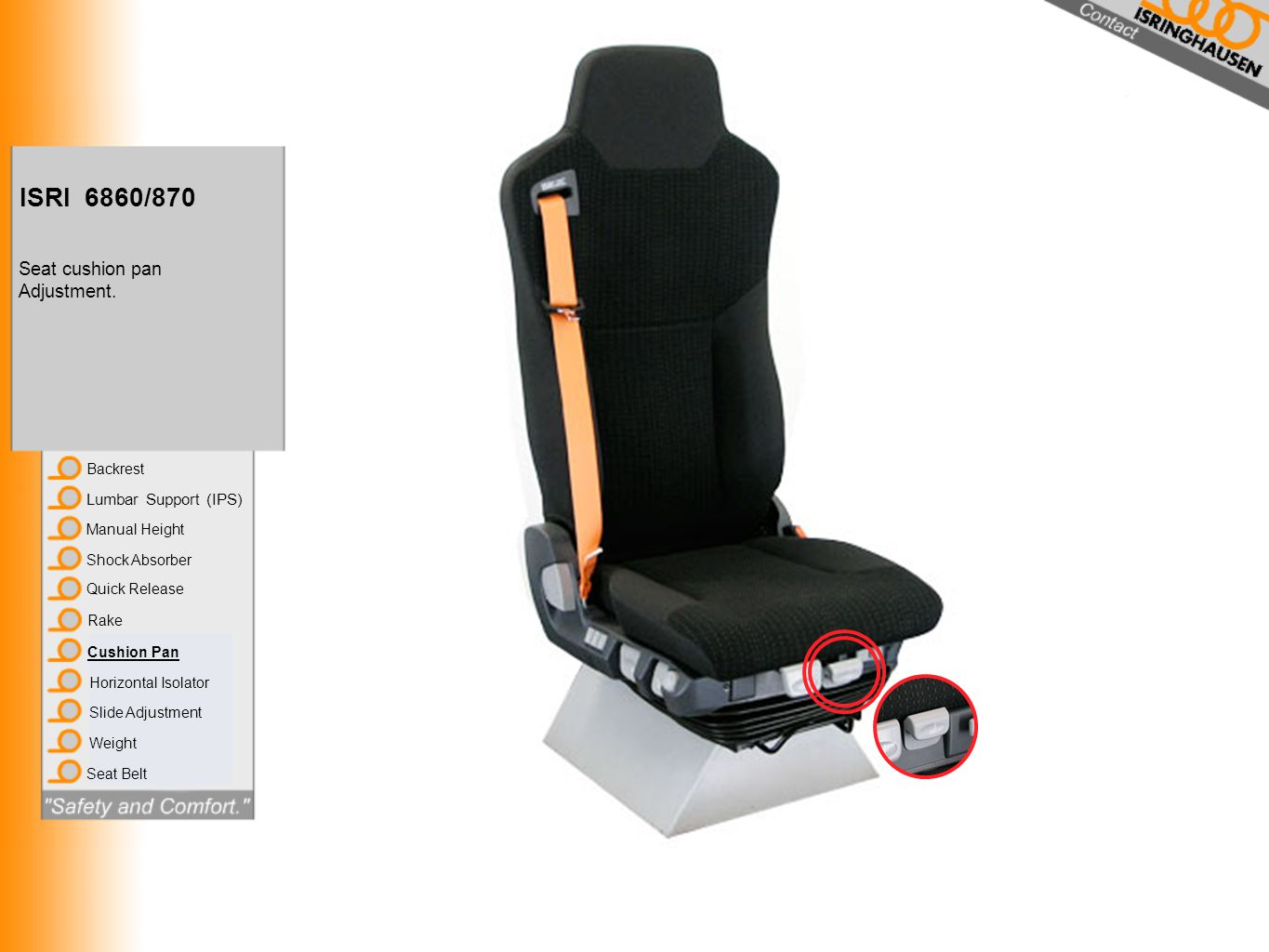ISRI 6860/870 Seat cushion pan Adjustment. Lumbar Support (IPS)