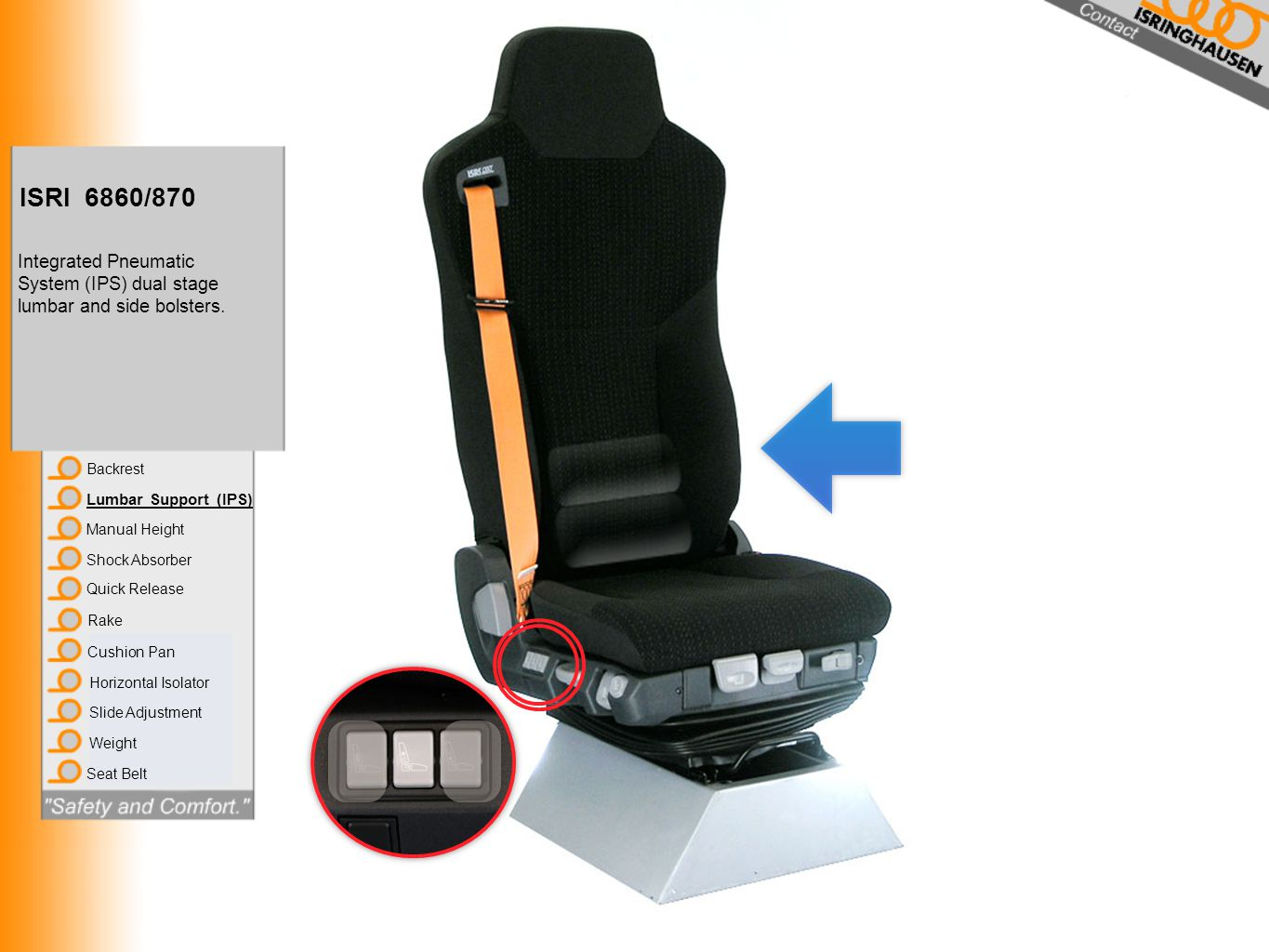 ISRI 6860/870 Integrated Pneumatic System (IPS) dual stage lumbar and side bolsters. Backrest. Lumbar Support (IPS)
