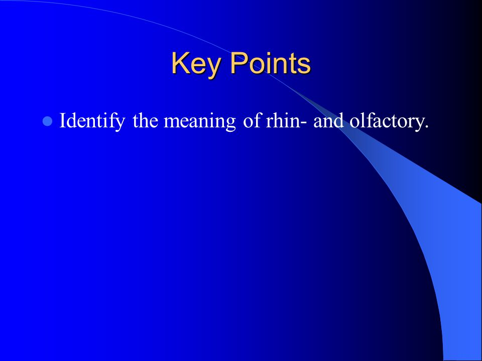 Key Points Identify the meaning of rhin- and olfactory.