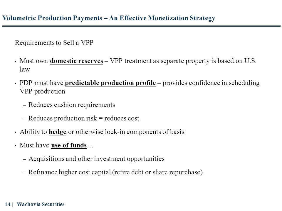 Requirements to Sell a VPP
