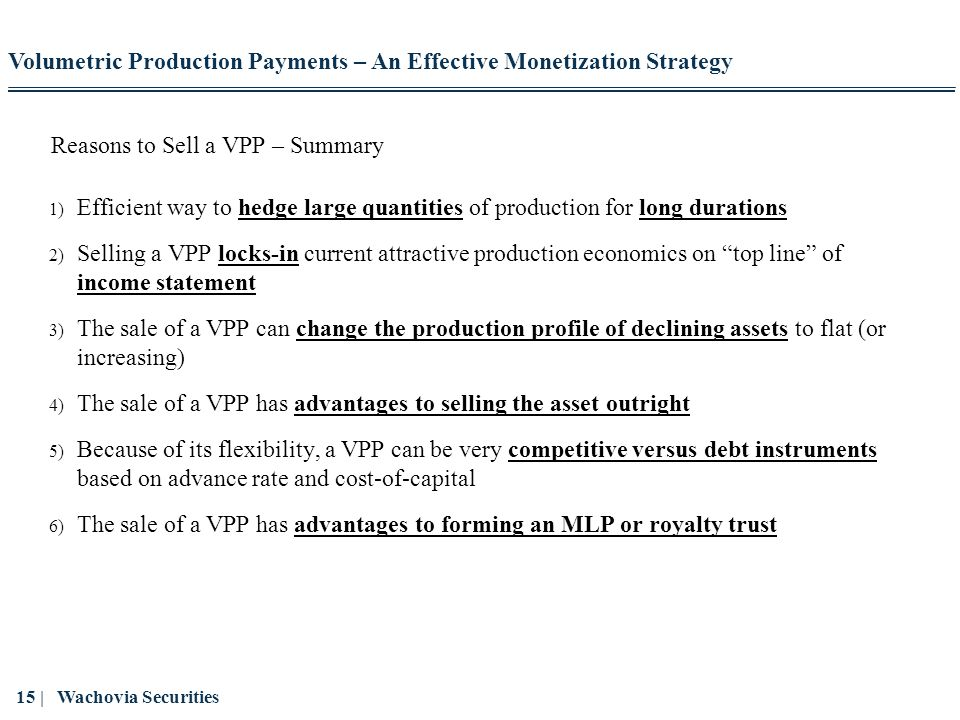 Reasons to Sell a VPP – Summary