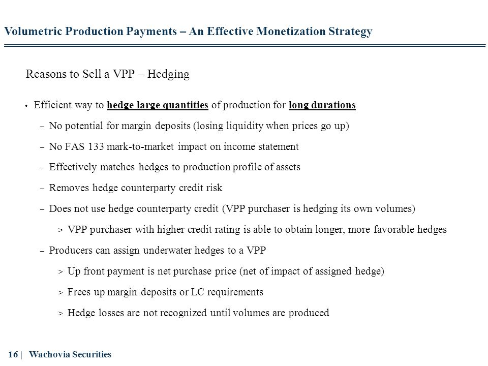 Reasons to Sell a VPP – Hedging