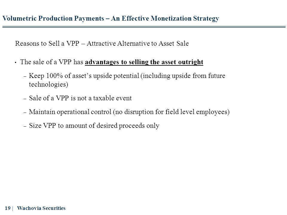 Reasons to Sell a VPP – Attractive Alternative to Asset Sale