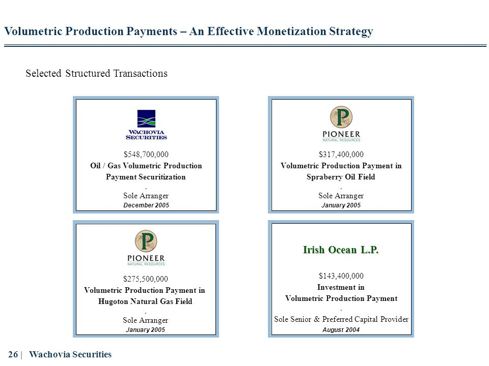 Oil / Gas Volumetric Production Payment Securitization