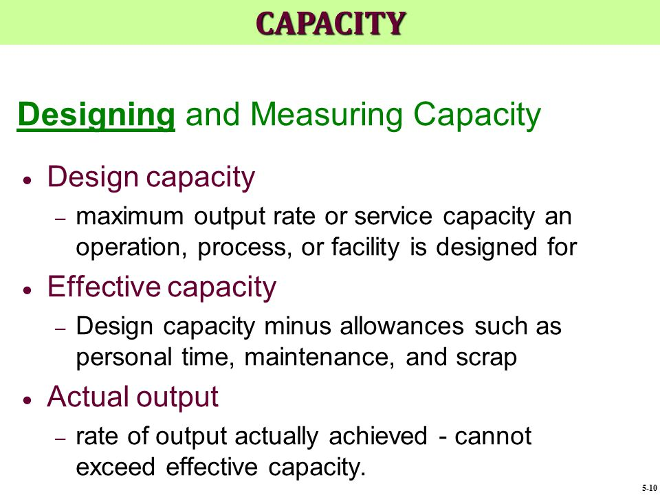 Designing and Measuring Capacity