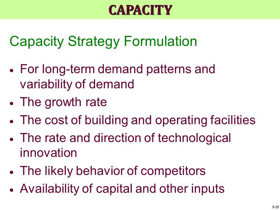 Capacity Strategy Formulation