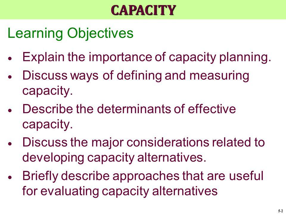 CAPACITY Learning Objectives