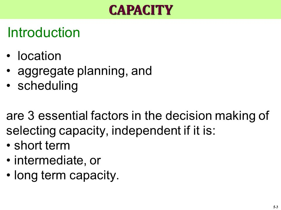 CAPACITY Introduction location aggregate planning, and scheduling