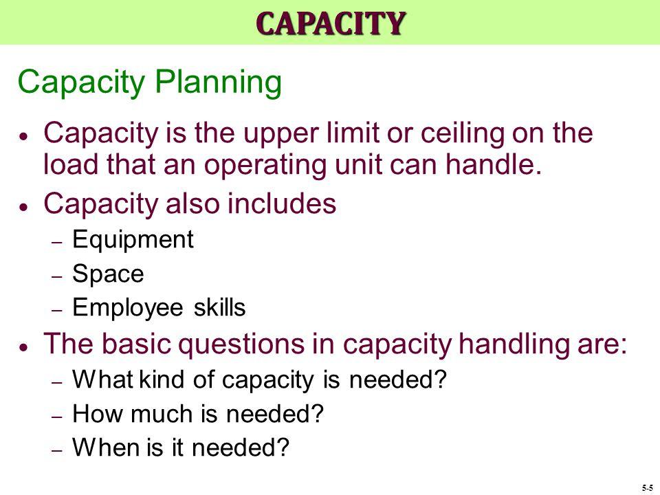 CAPACITY Capacity Planning