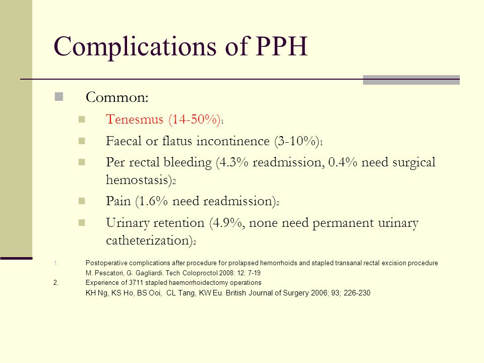 Complications of PPH Common: Tenesmus (14-50%)1
