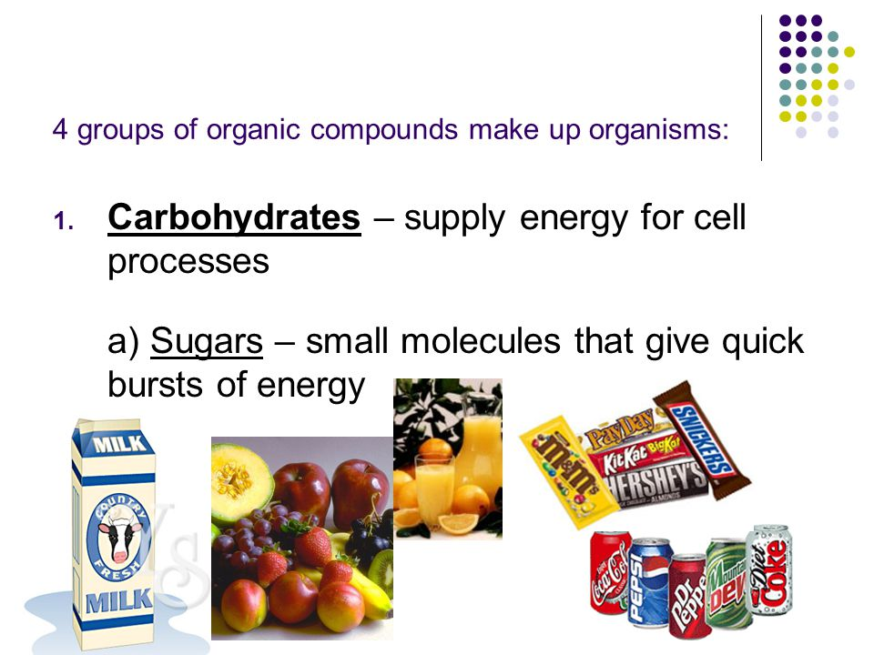 4 groups of organic compounds make up organisms: