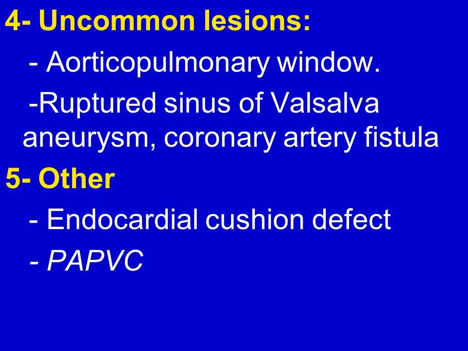4- Uncommon lesions: - Aorticopulmonary window. -Ruptured sinus of Valsalva aneurysm, coronary artery fistula.