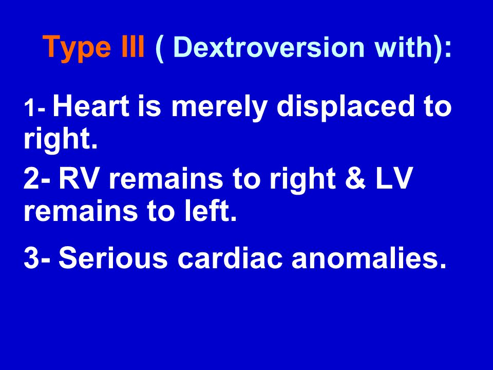 Type III ( Dextroversion with):
