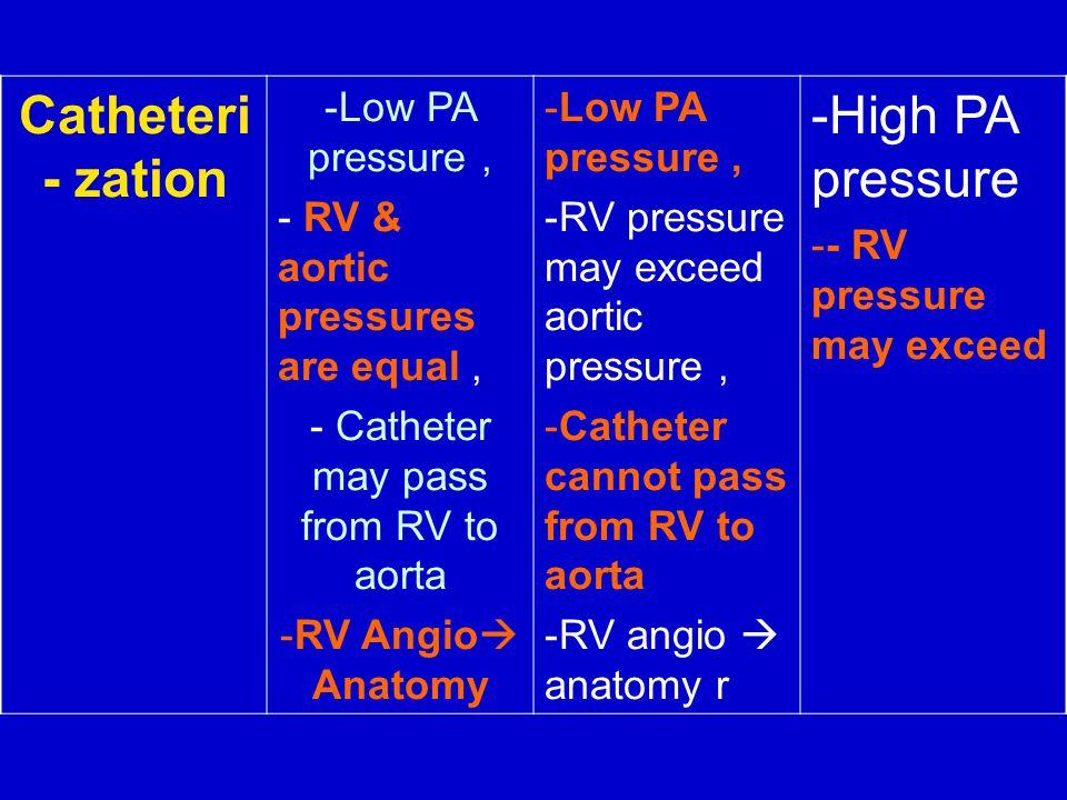 Catheter may pass from RV to aorta