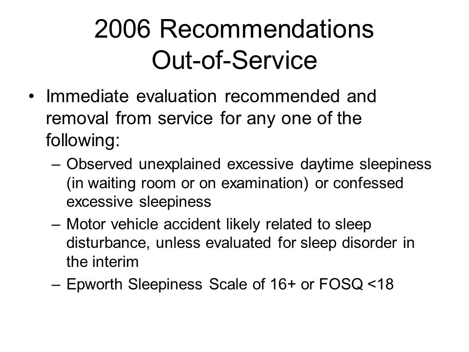 2006 Recommendations Out-of-Service