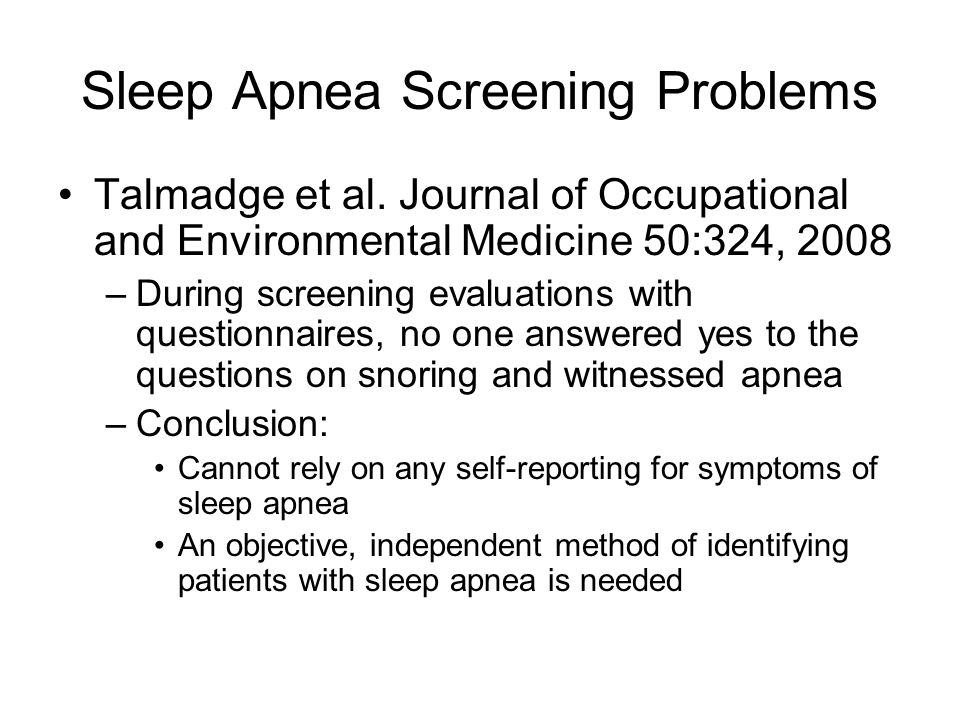 Sleep Apnea Screening Problems