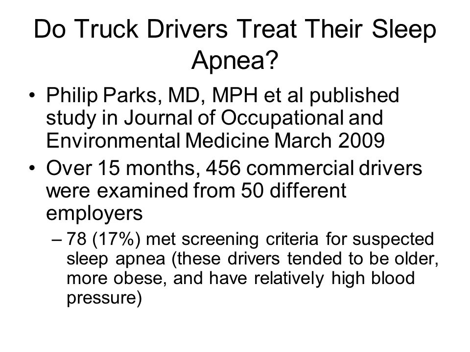 Do Truck Drivers Treat Their Sleep Apnea