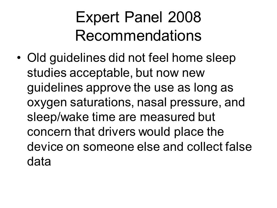 Expert Panel 2008 Recommendations