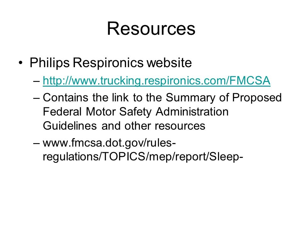 Resources Philips Respironics website