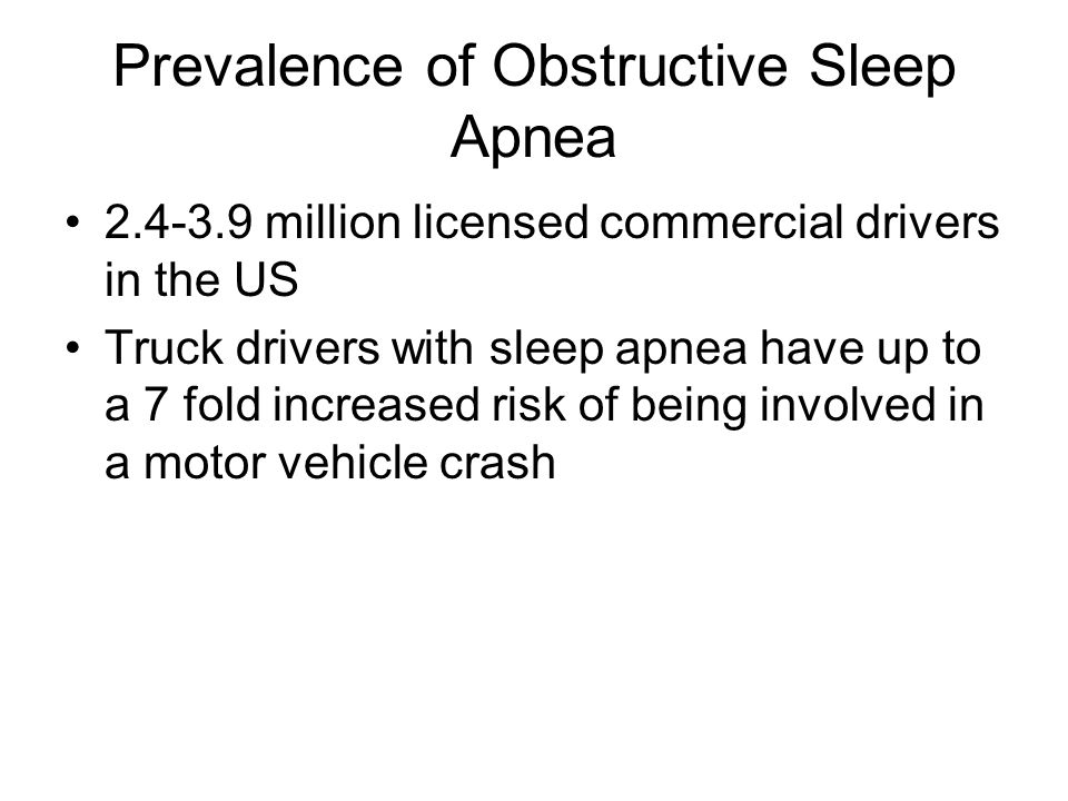 Prevalence of Obstructive Sleep Apnea