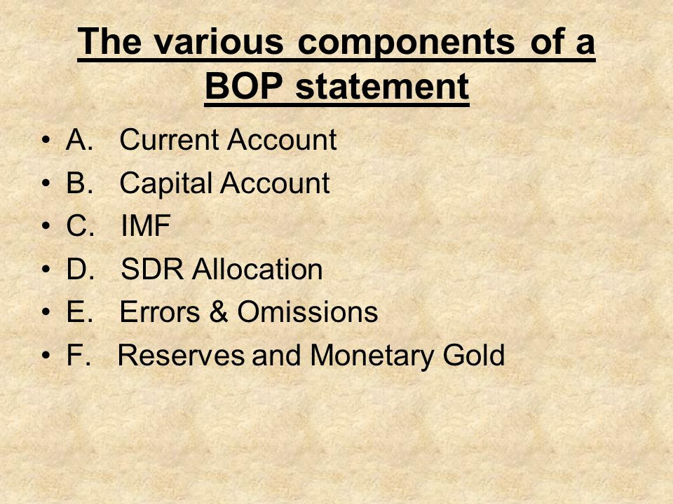 The various components of a BOP statement