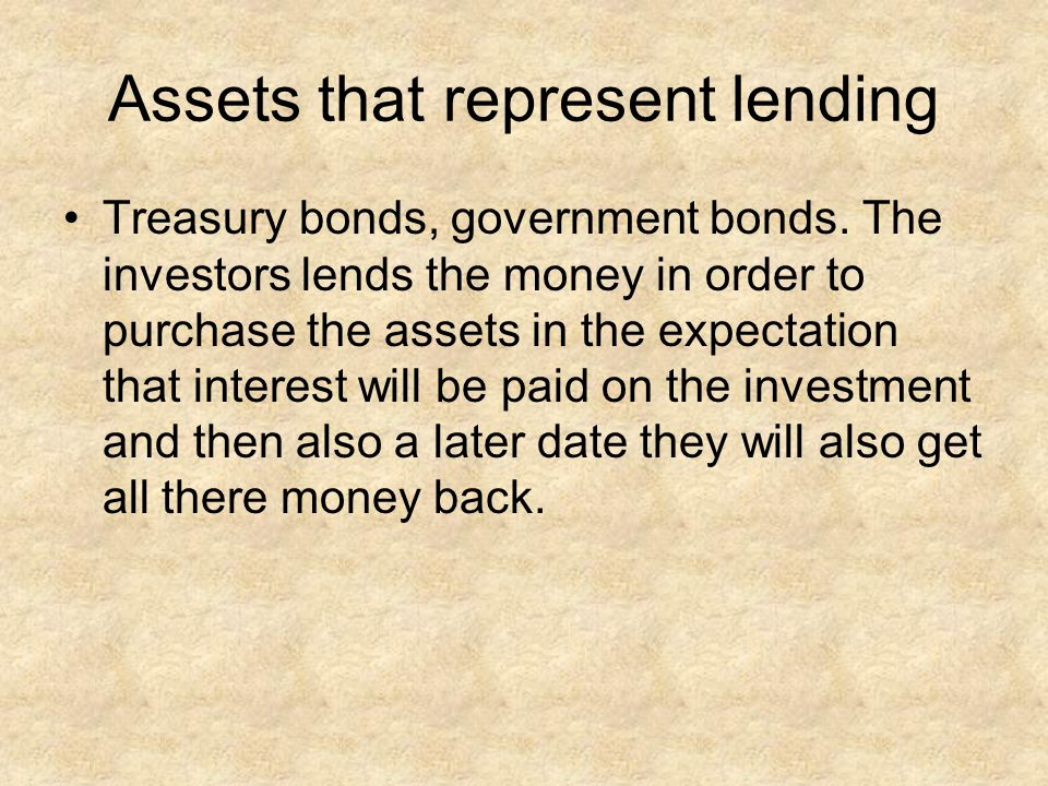 Assets that represent lending