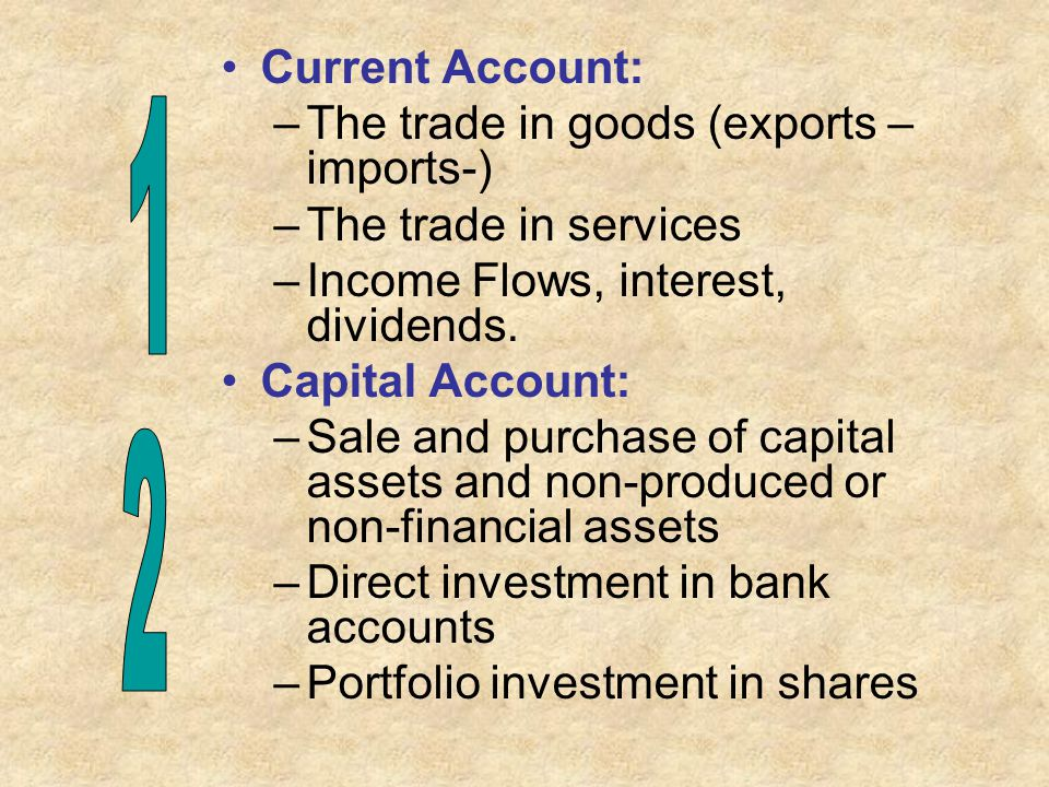 1 2 Current Account: The trade in goods (exports – imports-)