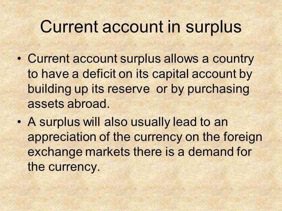 Current account in surplus