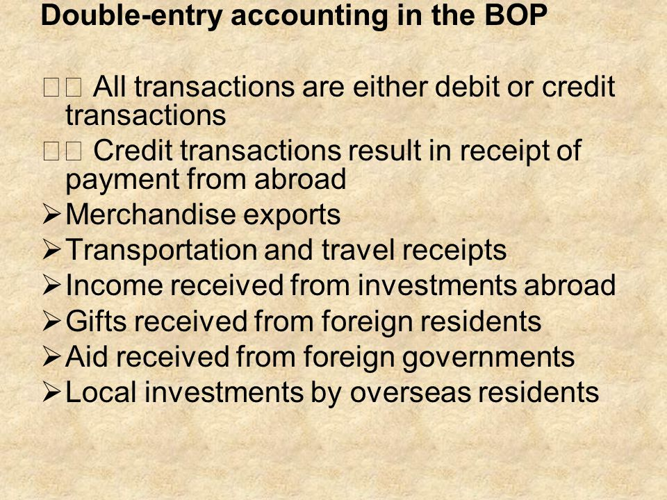 Double-entry accounting in the BOP