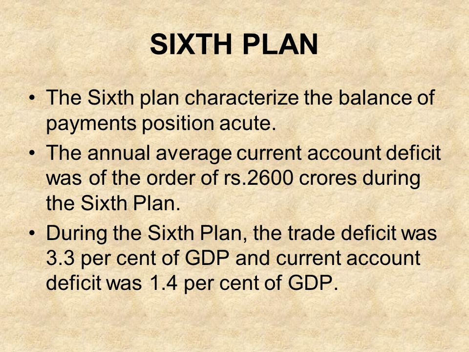 SIXTH PLAN The Sixth plan characterize the balance of payments position acute.
