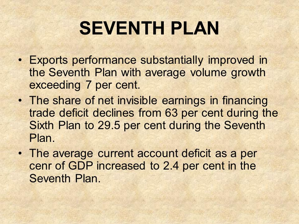 SEVENTH PLAN Exports performance substantially improved in the Seventh Plan with average volume growth exceeding 7 per cent.