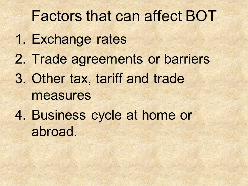 Factors that can affect BOT