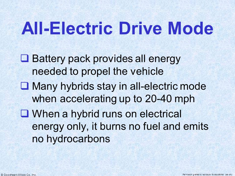 All-Electric Drive Mode