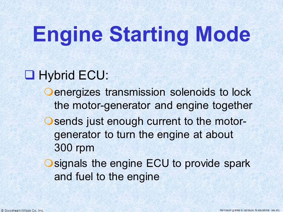 Engine Starting Mode Hybrid ECU: