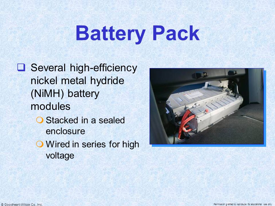 Battery Pack Several high-efficiency nickel metal hydride (NiMH) battery modules. Stacked in a sealed enclosure.