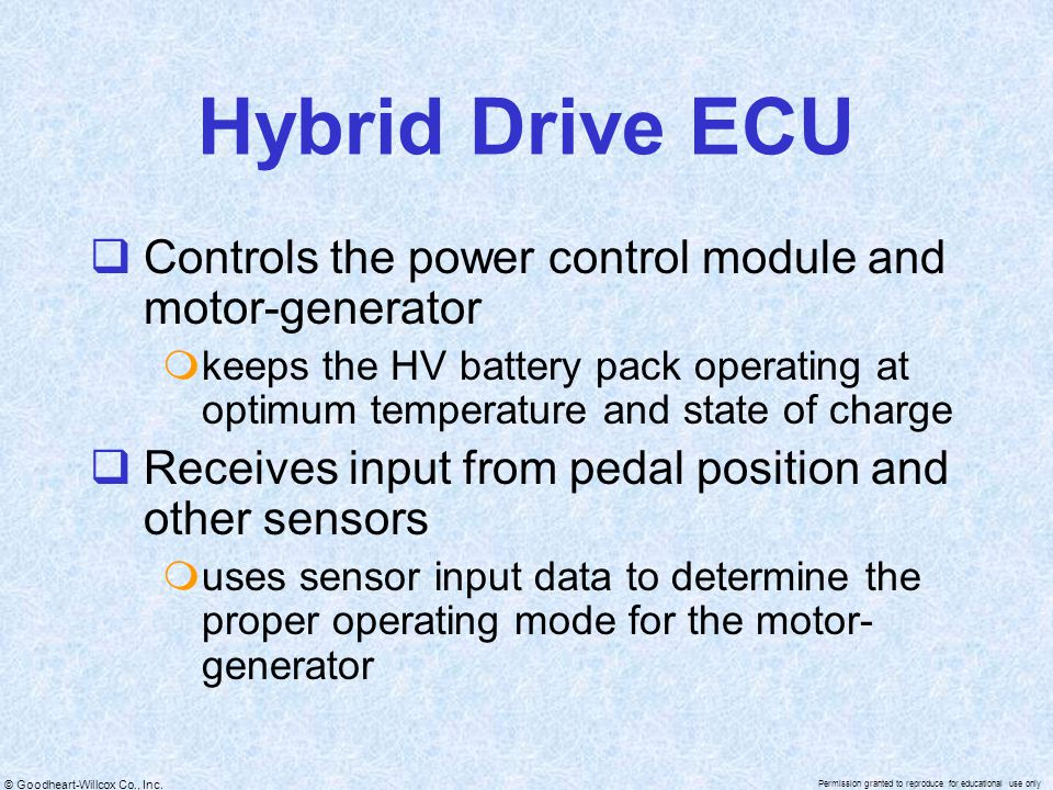 Hybrid Drive ECU Controls the power control module and motor-generator