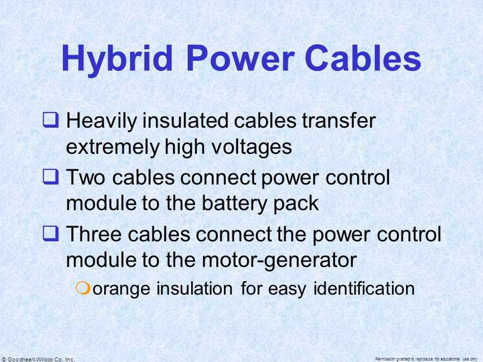Hybrid Power Cables Heavily insulated cables transfer extremely high voltages. Two cables connect power control module to the battery pack.