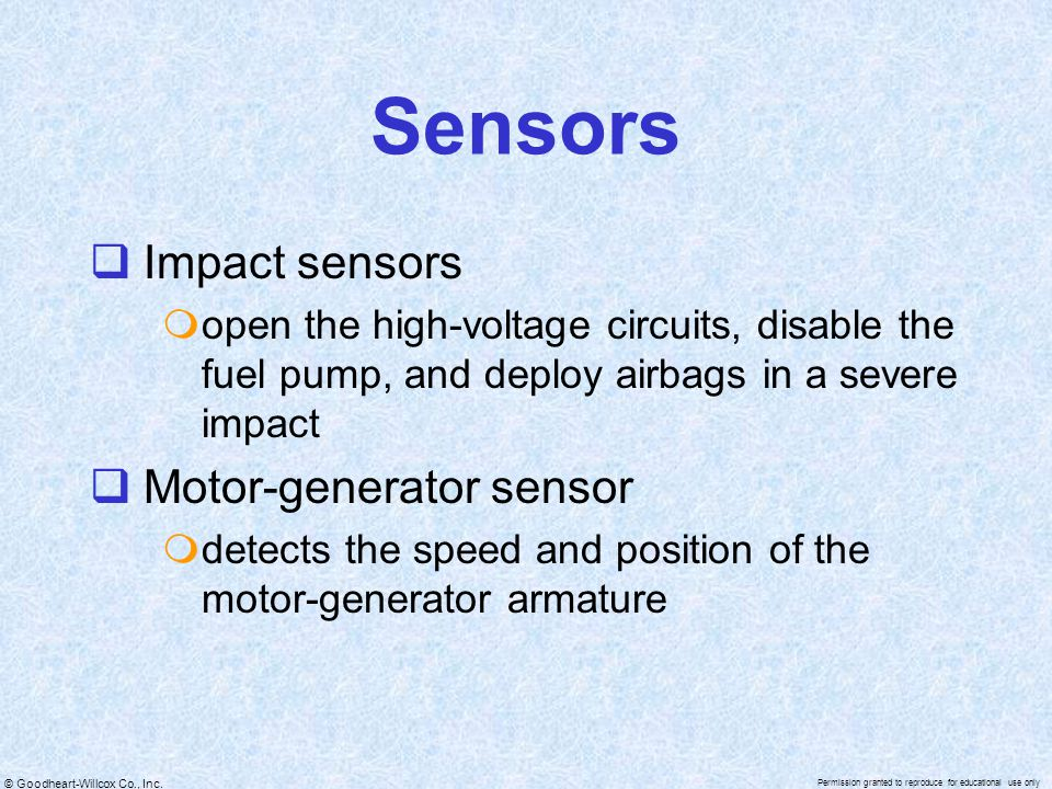 Sensors Impact sensors Motor-generator sensor