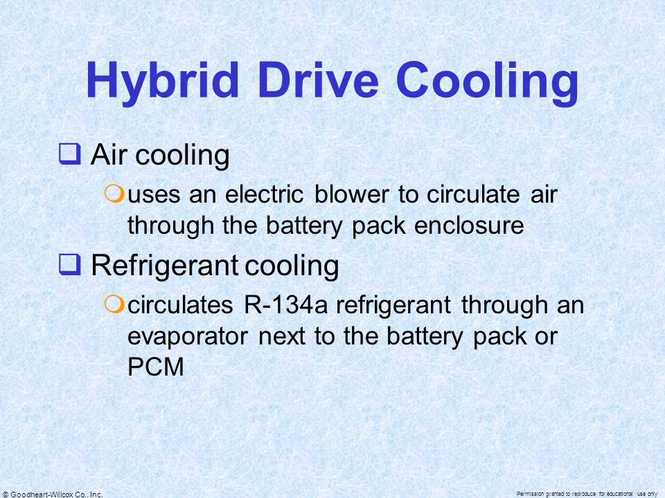 Hybrid Drive Cooling Air cooling Refrigerant cooling