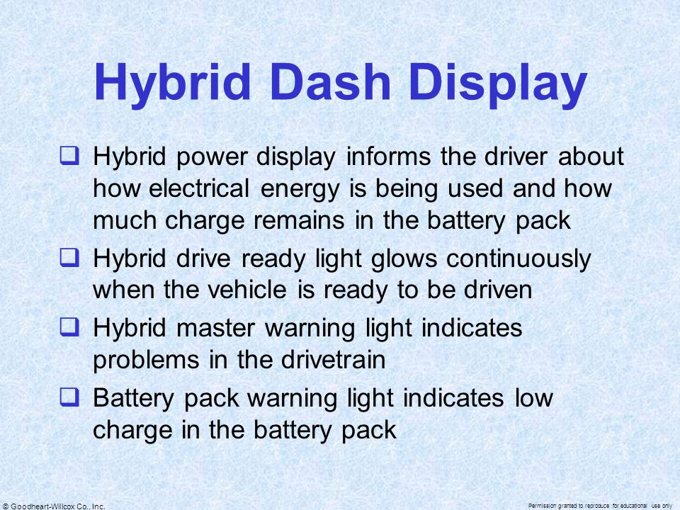 Hybrid Dash Display Hybrid power display informs the driver about how electrical energy is being used and how much charge remains in the battery pack.