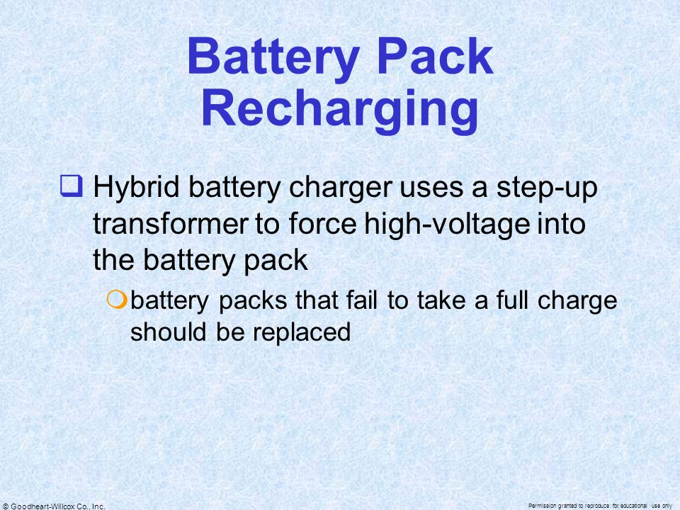Battery Pack Recharging