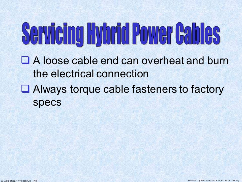 Servicing Hybrid Power Cables