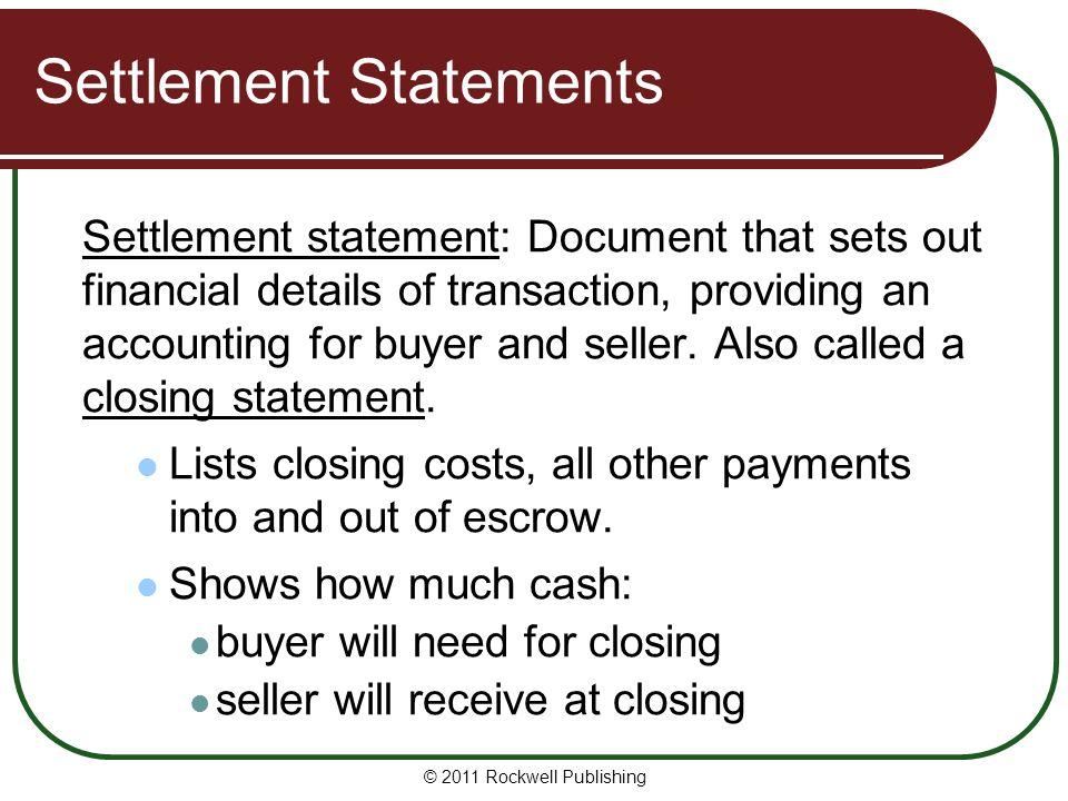 Settlement Statements