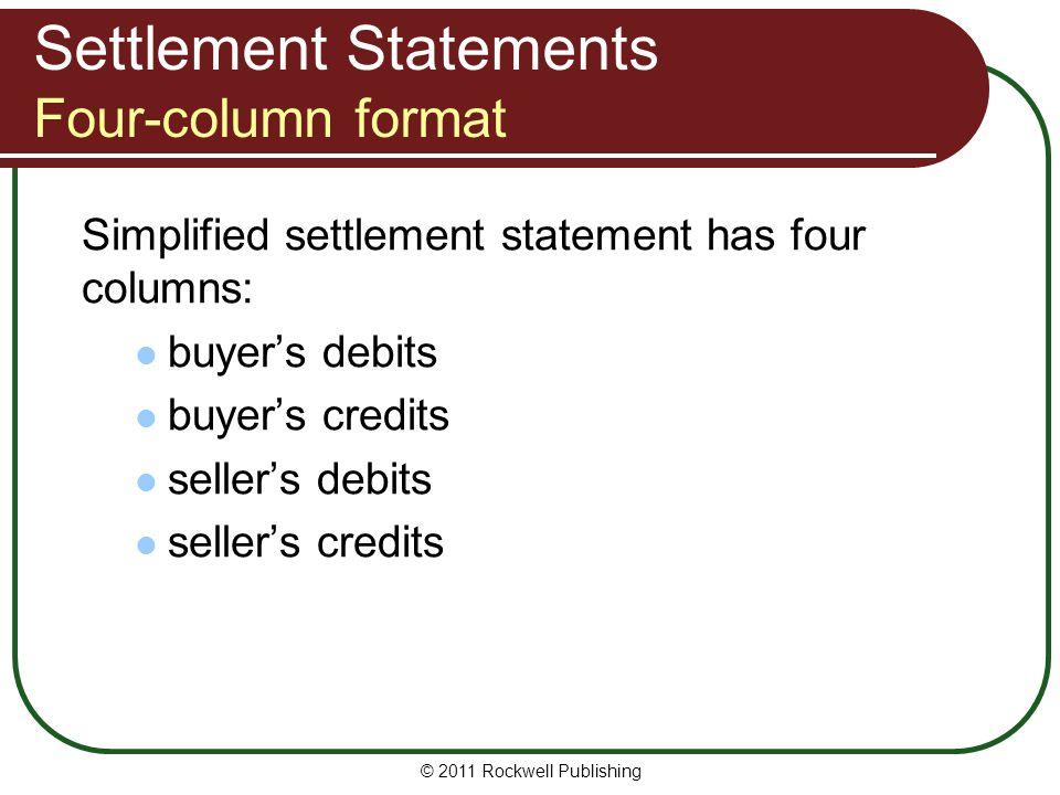 Settlement Statements Four-column format